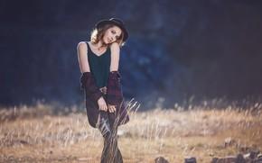 Картинка взгляд, девушка, поза, улыбка, шляпа, цепочка, Alexander Glockner