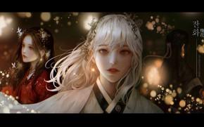 Картинка девушки, боке, традиционная одежа