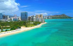 Картинка море, волны, лето, Гонолулу, город в США, красивый берег, LyudaSav