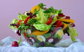 Картинка яркий, еда, яйца, ткань, перец, миска, натюрморт, овощи, разноцветный, блюдо, композиция, салат, болгарский, редис, свежий