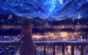Картинка зима, небо, снег, горы, ночь, город, рисунки, девочка