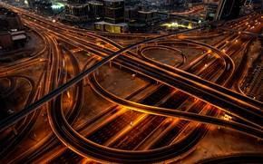 Картинка дорога, линии, ночь, город, огни, темнота, движение, дома, небоскребы, шоссе, Дубай, архитектура, мосты, ночной, мегаполис, …