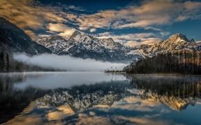 Картинка Альпы, отражение, горы, Австрия, Upper Austria, туман, озеро, Austria, Lake Almsee, Озеро Альмзе, Alps, Верхняя …