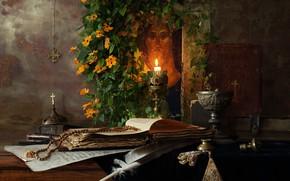 Картинка цветы, перо, свеча, книга, натюрморт, икона, четки, Иисус Христос