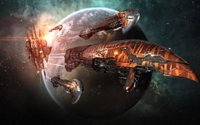 Картинка космос, планета, станция, space, космический корабль, station, eve online, space ship, into the abyss, космоопера