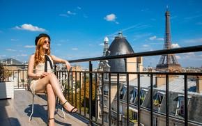 Картинка city, girl, Paris, sky, long hair, dress, legs, photo, France, model, chair, lips, face, redhead, …