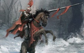 Картинка Лошадь, Доспехи, Конь, Fantasy, Warrior, Рыцарь, Illustration, Knight, Всадник, Horse, Templar, Raymond Minnaar, mounted Knight, …