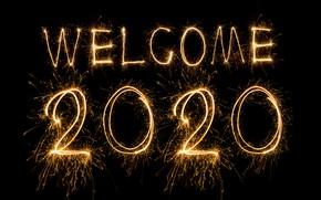 Картинка огни, салют, Новый Год, golden, черный фон, happy, New Year, fireworks, sparkle, 2020