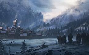 Картинка Зима, Город, Снег, Winter, Landscape, Фантастика, Войны, Викинг, Холод, Vikings, North, Cold, Викинги, Environments, Sergey …