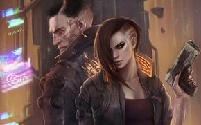 Картинка оружие, мужчина, левушка, Cyberpunk 2077, Киберпанк