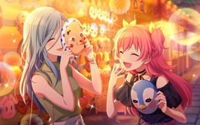 Картинка девушки, смех, маски, Project Sekai Colorful Stage! feat. Hatsune Miku, Momoi Airi, летний фестиваль, Hinomori …