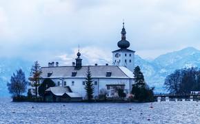 Картинка горы, озеро, церковь