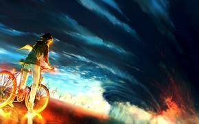Картинка небо, велосипед, фон, огонь, буря, аниме, fire, парень, storm, anime, boy, colour, epic