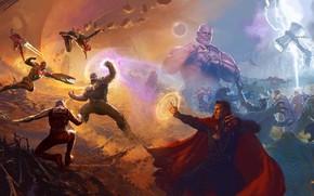 Обои alien, lightning, Nebula, Iron Man, Marvel, Captain America, Spider-man, Thor, Titan, artbook, Black Panther, Guardian ...