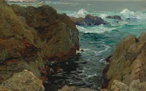 Картинка море, пейзаж, скалы, картина, Анри Море, Henry Moret, Cote de Bretagne, Побережье Бретани