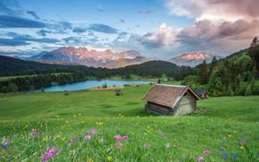 Картинка поле, лес, лето, небо, облака, пейзаж, цветы, горы, природа, река, холмы, голубое, вершины, склон, Альпы, ...