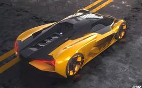 Картинка рендеринг, Lamborghini, суперкар, вид сверху, Terzo Millennio