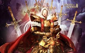 Картинка девушка, замок, меч, воин, League of Angels, Лига ангелов