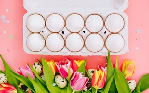 Картинка праздник, яйца, пасха, тюльпаны