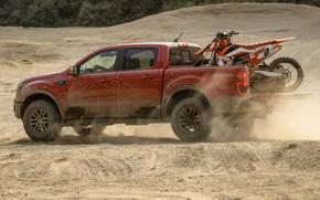 Картинка песок, Ford, пыль, мотоцикл, вид сбоку, пикап, Ranger, Lariat, Tremor, 2021