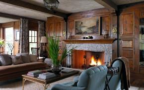 Картинка стиль, Англия, интерьер, камин, классика, гостиная
