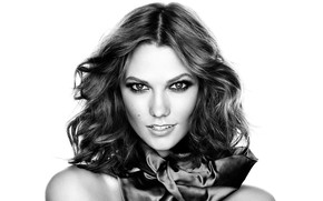 Картинка взгляд, модель, макияж, model, black and white, look, черно белая, makeup, make up, Karlie Kloss, …