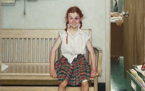 Картинка 1953, Norman Rockwell, Норман Роквелл, The Young Lady with a Shiner, American painter and illustrator, ...