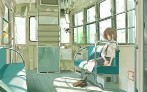 Картинка грусть, девушка, поезд, школьница