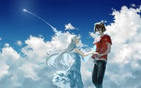 Картинка небо, девушка, романтика, аниме, арт, пара, парень, Anohana