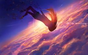 Картинка небо, девушка, солнце, закат, падает