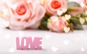 Картинка фон, надпись, Love, розы, букет, сердечки