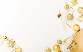 Картинка праздник, подарок, игрушки, Новый год, golden, Christmas, decoration, Valeria Aksakova