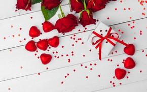 Картинка подарок, романтика, розы, конфеты, сердечки