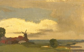 Картинка масло, картина, 1923, Willem Witsen, Виллем Витсен, Пейзаж с мельницей в Вийк бий Дуурстеде
