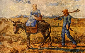 Картинка Vincent van Gogh, Morning Peasant, Couple Going to Work