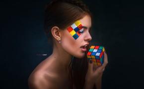 Обои лицо, стиль, фон, модель, портрет, макияж, прическа, шатенка, красотка, кубик Рубика, Alexander Drobkov, Alexander Drobkov-Light, ...