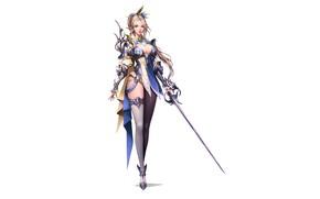 Картинка Girl, Fantasy, Art, Style, Illustration, Sword, Figure, Character, jangwon park