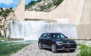 Картинка авто, вода, река, скалы, Mercedes-Benz, водопад, GLC, 300 L