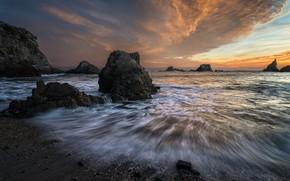 Картинка скалы, побережье, закат