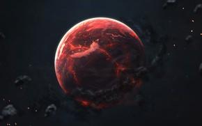 Картинка Красный, Планета, Космос, Red, Арт, Space, Art, Planet, Universe, Galaxy, Астероиды, Science Fiction, Asteroids, Пространство, …