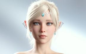 Картинка girl, anime, beautiful, short hair, pretty, face, blonde, elf, princess, attractive, handsome, clear eyes