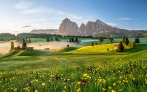 Картинка Sunrise, Dolomite Alps, Alpe di Siusi