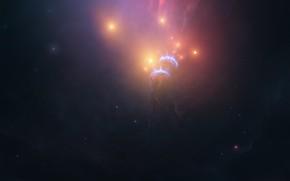 Картинка Звезды, Космос, Туманность, Свет, Стиль, Fantasy, Арт, Stars, Space, Art, Фантастика, Nebula, Fiction, StarkitecktDesigns, by …