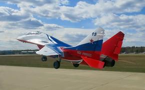 Картинка Стрижи, многоцелевой истребитель четвёртого поколения, Fulcrum, ОКБ МиГ, Пилотажная группа, двухместный учебно-боевой истребитель, МиГ-29УБ