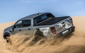 Картинка песок, небо, серый, движение, Ford, Raptor, пикап, Ranger, 2019
