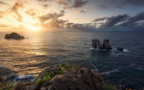 Картинка море, пейзаж, закат, тучи, природа, скалы, красота