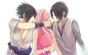 Картинка Наруто, Naruto, Sasuke Uchiha, Sakura Haruno, Саске Учиха, Сакура Харуно