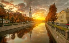 Обои осень, солнце, рассвет, церковь, канал, Санк-Петербург, Гордеев Эдуард