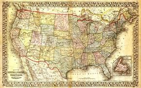Картинка Карта, Мексика, Канада, США