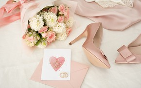 Картинка стиль, букет, Pink, платье, туфли, Rings, свадьба, Romantic